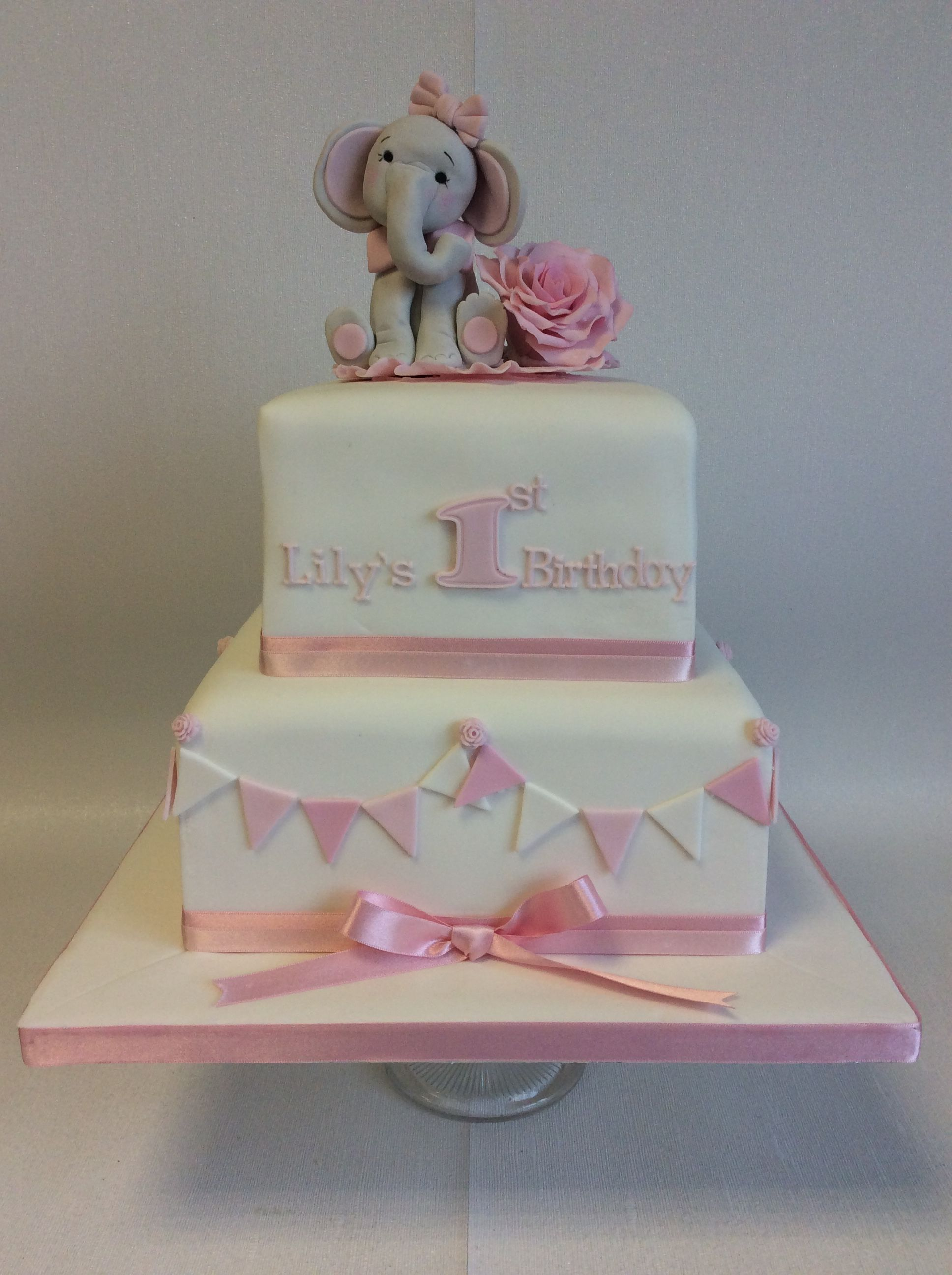 Cute 2 Tier Square First Birthday Cake With Elephant And Flower