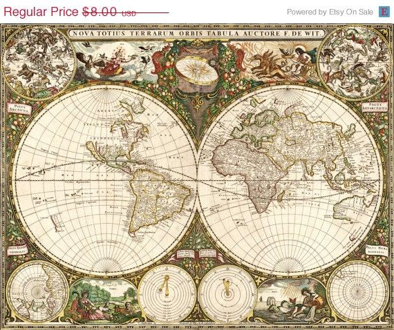 On sale instant download old world map 1660 by mystitchxcross 399 on sale instant download old world map 1660 by mystitchxcross 399 gumiabroncs Gallery