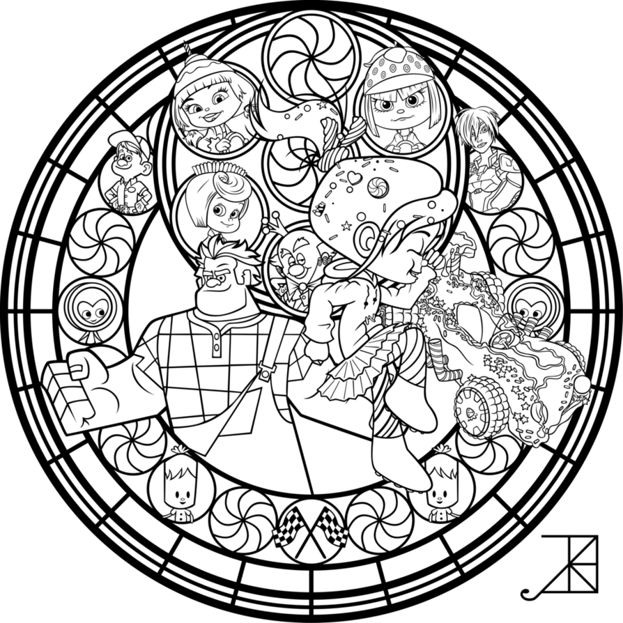 Vanellope Stained Glass Line Art By Akili Amethyst Deviantart Com On Deviantart Mandala Coloring Pages Disney Stained Glass Disney Coloring Pages [ 894 x 894 Pixel ]