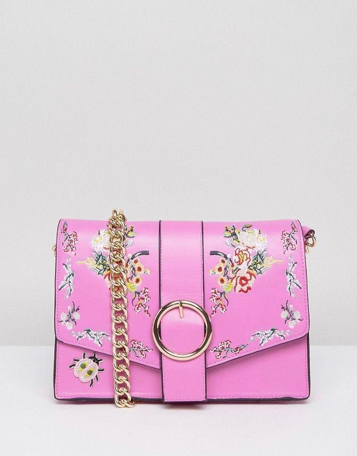 Cute Pink fashion handbag/purse accessories for spring/ summer -  ASOS Floral Embroidered Shoulder Bag