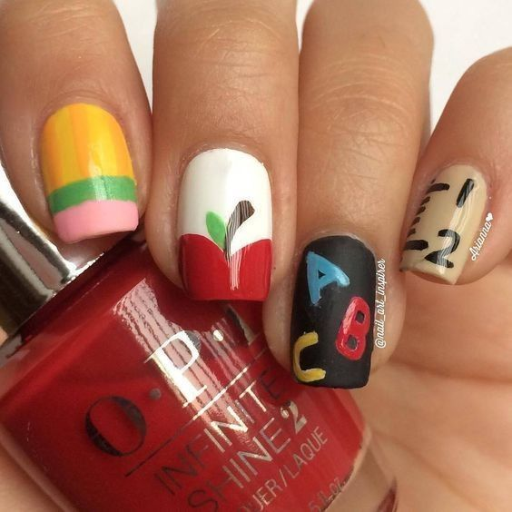 Apples And Abc S School Nails Back To School Nails School Nail Art