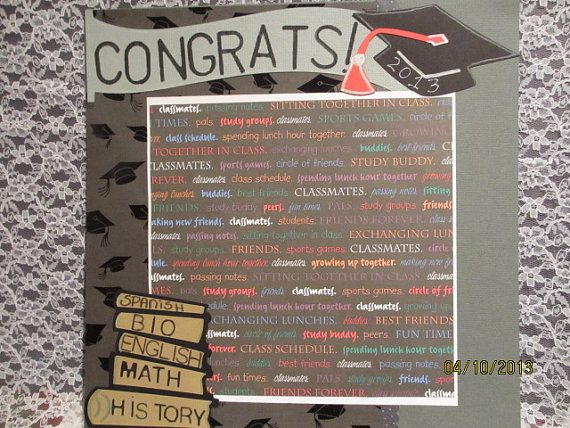 Graduation Scrapbook Page Congrats By Scrapbookhappynet On Etsy