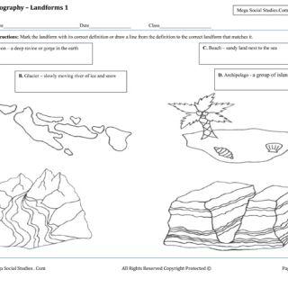 Free kindergarten geography worksheets. Landforms and