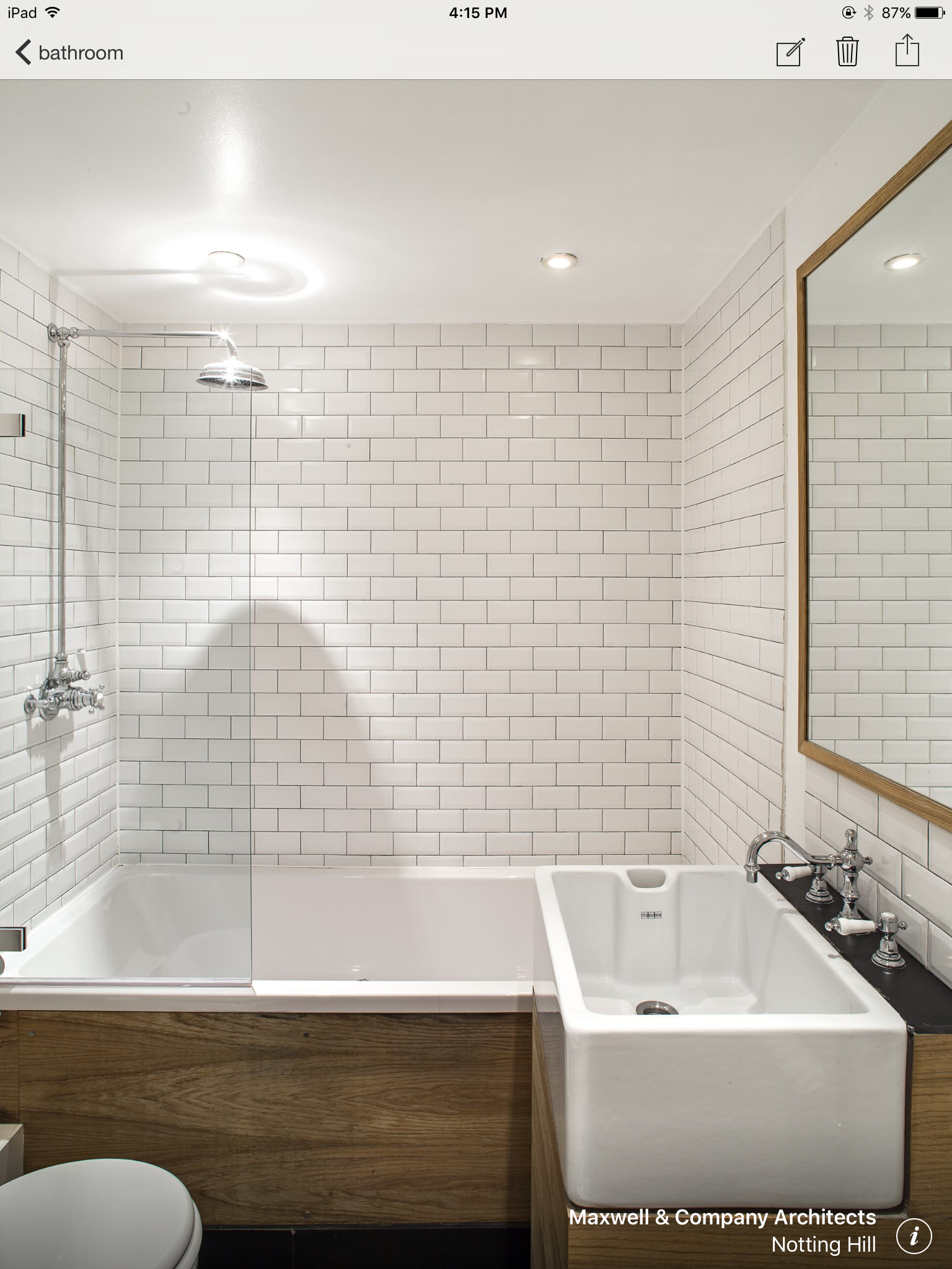 Shower / bath do not need to be very large. I like the tiles (subway tiles).