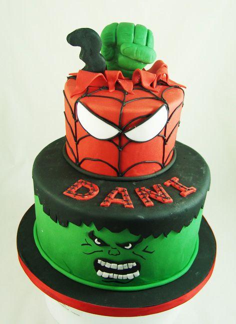 SpidermanHulk Themed Birthday Cake AvengersCake Our Childrens