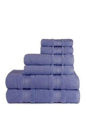 Central Park Studios Grace Textured Zero Twist 6 Piece Bath Towel