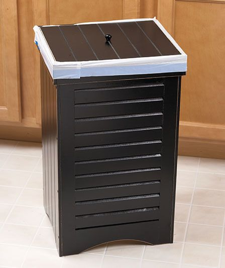 13 Gallon Kitchen Wooden Black Trash Can Bin With Lid Home Decor For The Home Decor