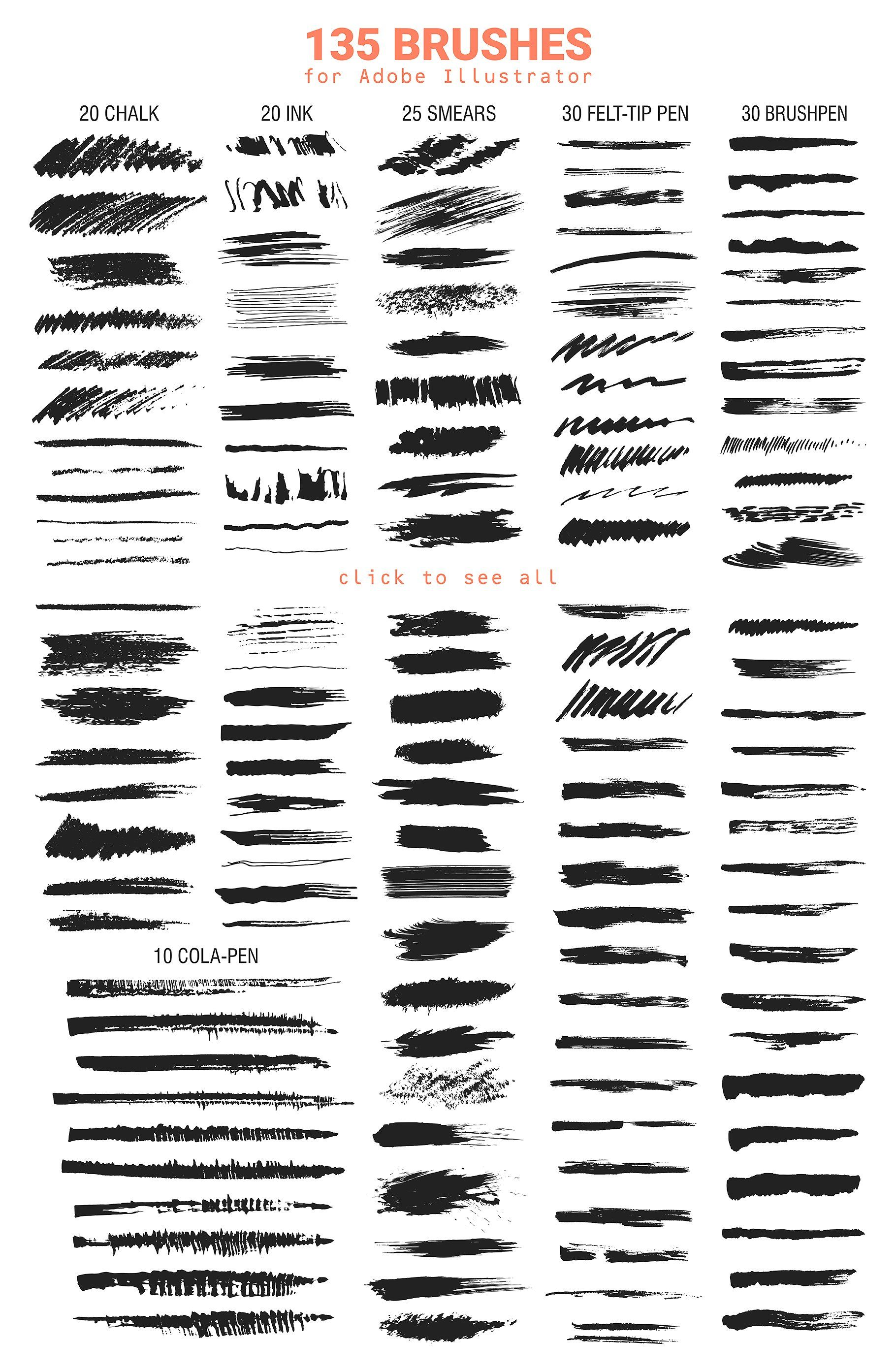 135 Vector Brushes For Illustrator Vector Brush Illustrator