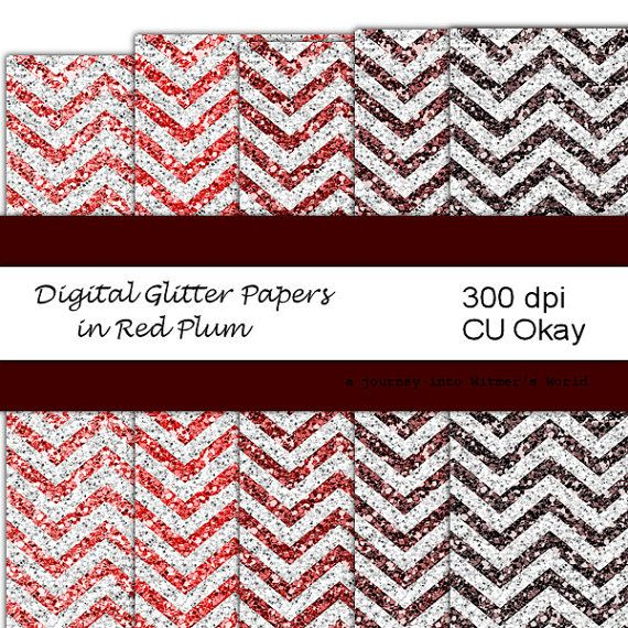 Digital Paper Reds Chevrons Glitter Digital Papers for Your Digital Scrapbook Paper Pack CU Okay