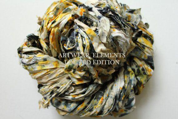 Sari Silk, Ancient Confetti, Fair Trade, 5 Yards, OOAK Silk Canvas Series, Textile, Yarn, Ribbon, Silk Ribbon, Artwear Elements 127