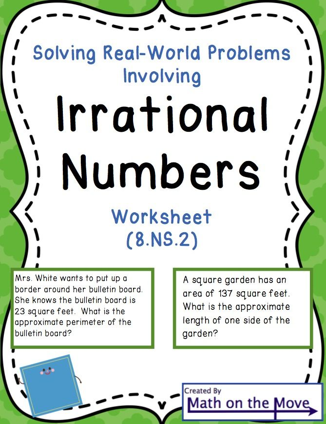 Irrational Numbers And Real World Problems Worksheet 8ns2