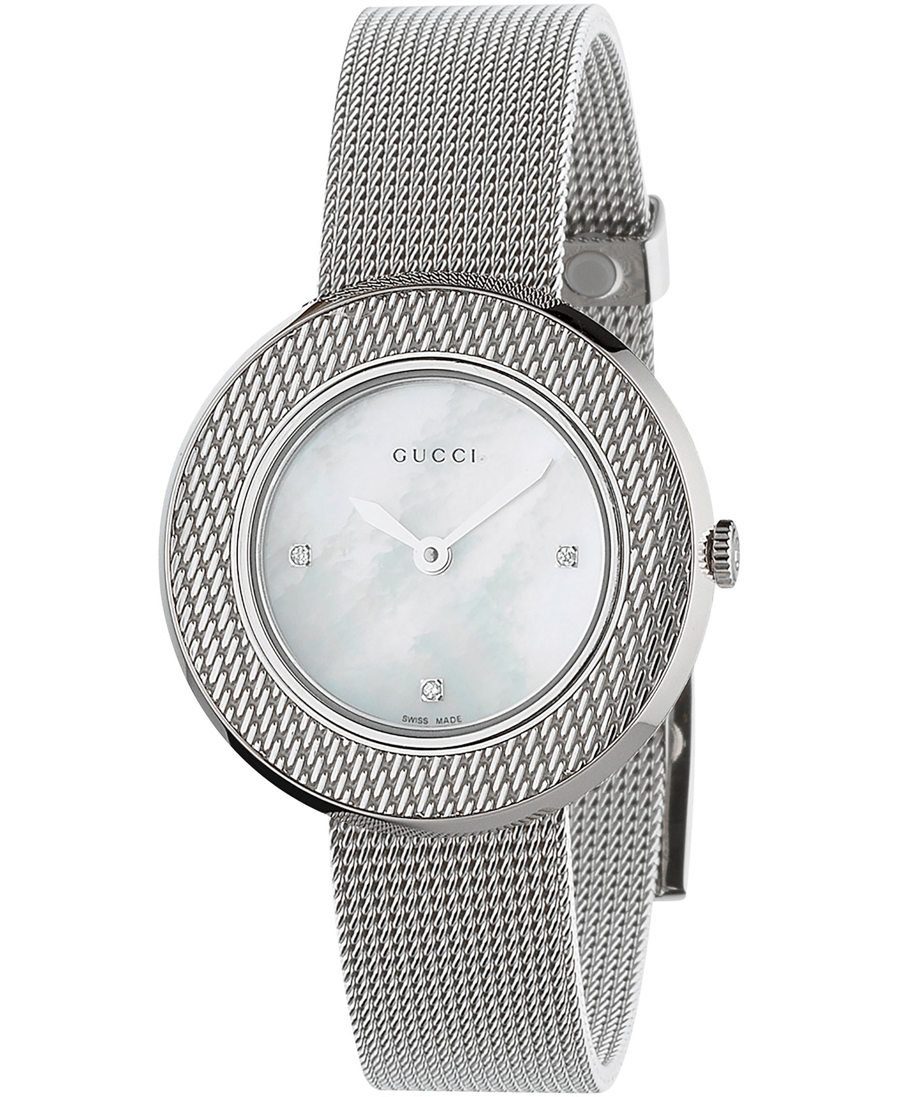0926c31afaf Gucci Women s Swiss U-Play Diamond Accent Stainless Steel Mesh Bracelet  Watch 27mm YA129517