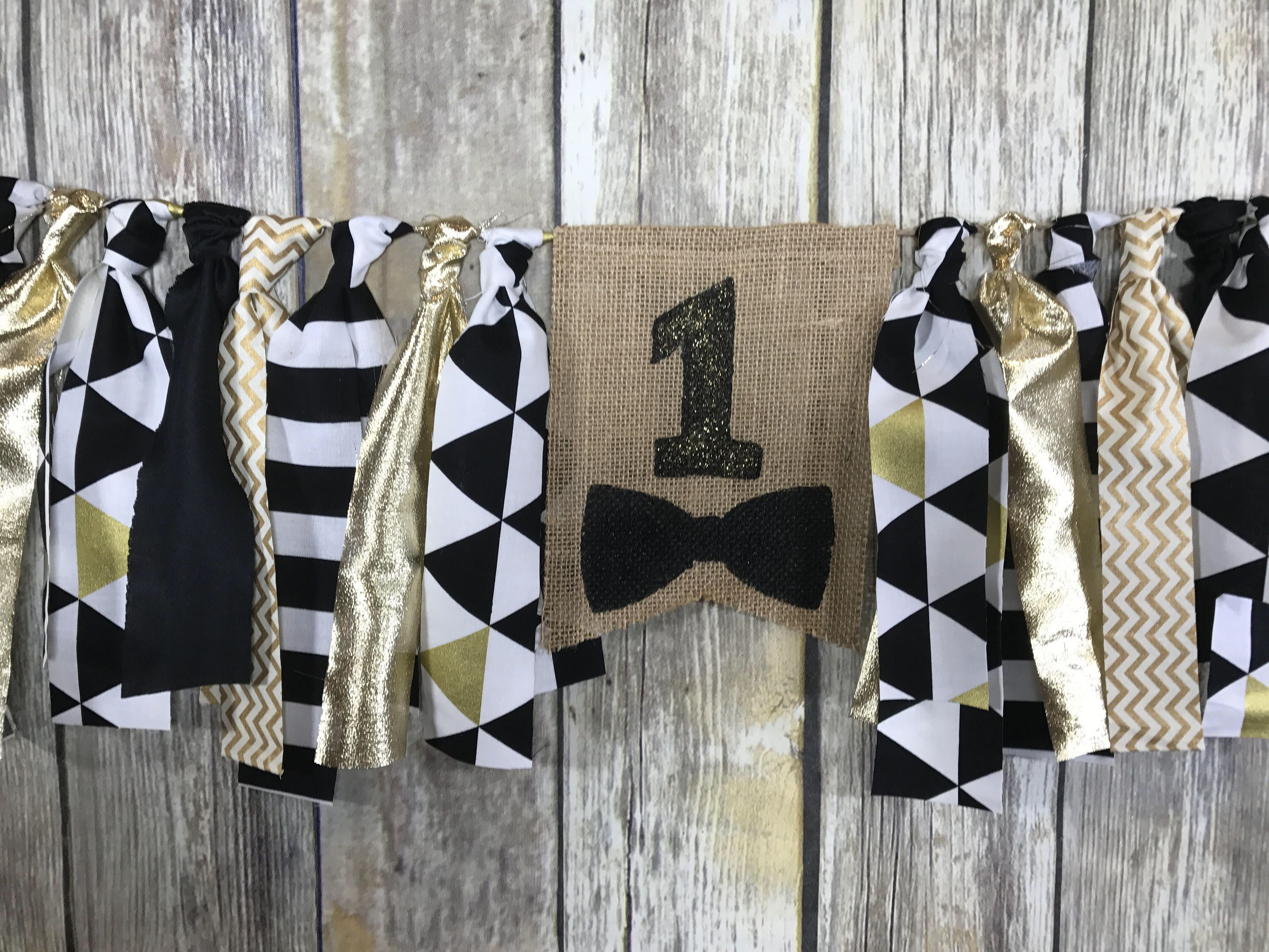 Bow tie High Chair Banner, First birthday banner boy, Bow