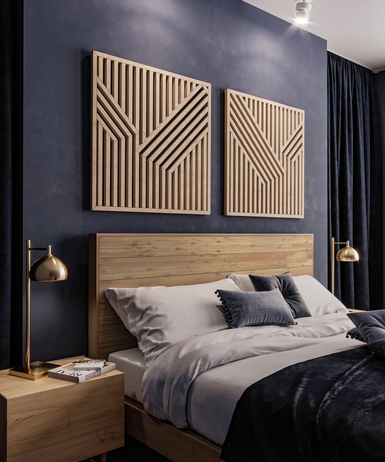 Abstract wood wall art set modern geometric wooden wall