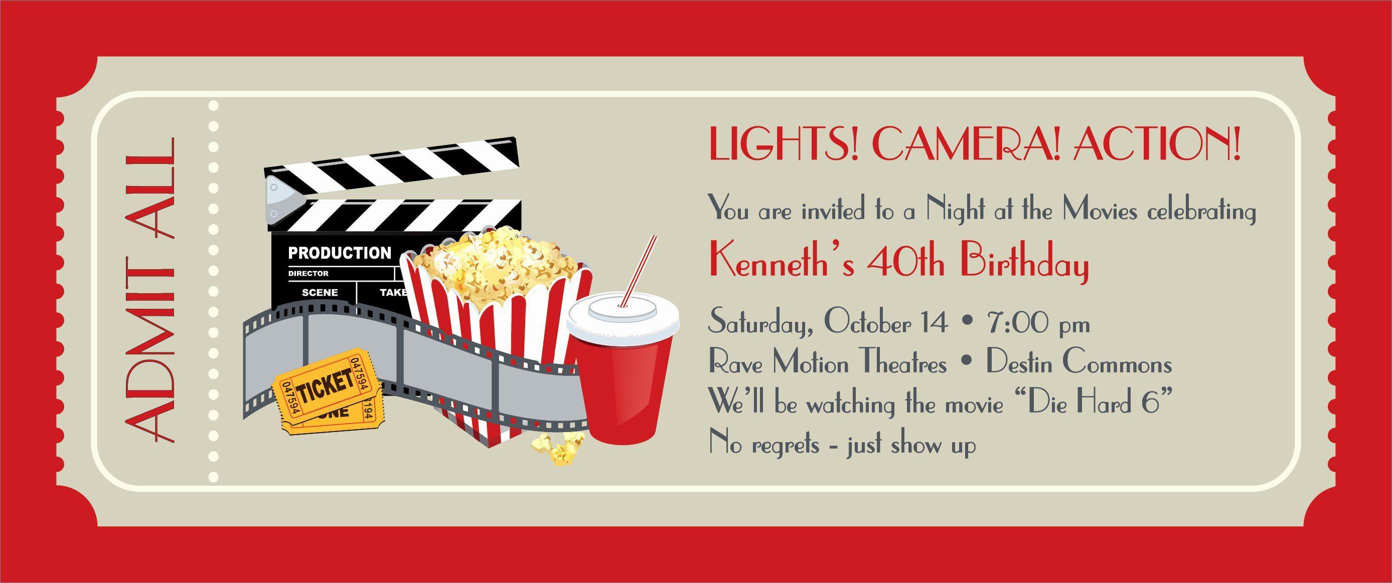 Movie Ticket Invitation Template Free Inspirational Movie Ticket Template Movie Party Invitations Movie Ticket Invitations Movie Night Invitations
