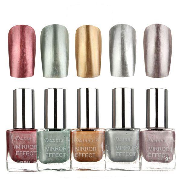 5 Colors 10ML Metallic Mirror Specular Effect Metal Silver Nail Art ...