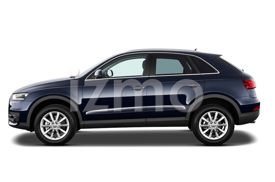 Side View of Blue 2014 Audi Q3 Ambiente SUV