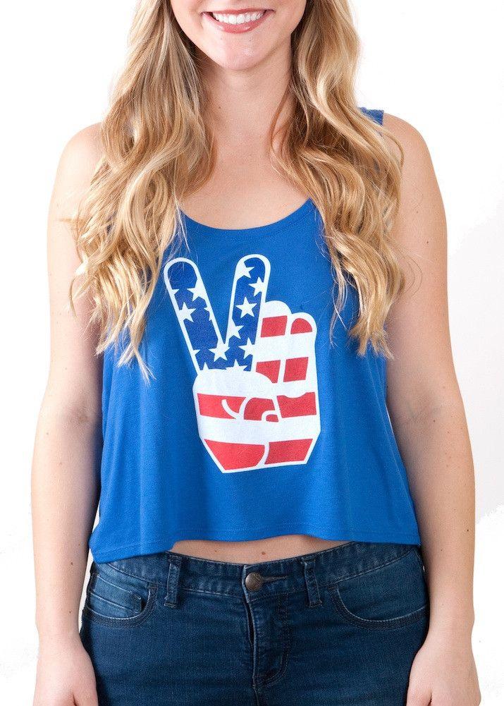 4e506bb3d8b3 Ladies  American Peace Sign  Crop Top
