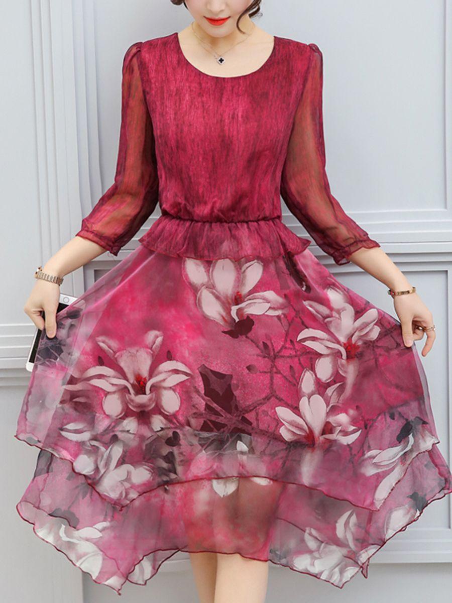 Round Neck Asymmetric Hem Floral Chiffon Skater Dress | WALMART ...