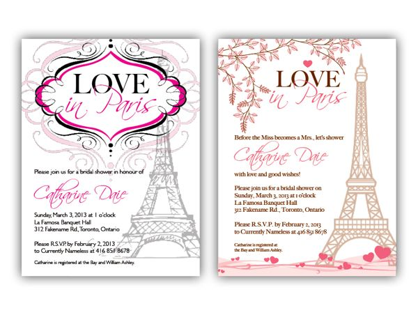 bridal shower invitation concepts love in paris theme