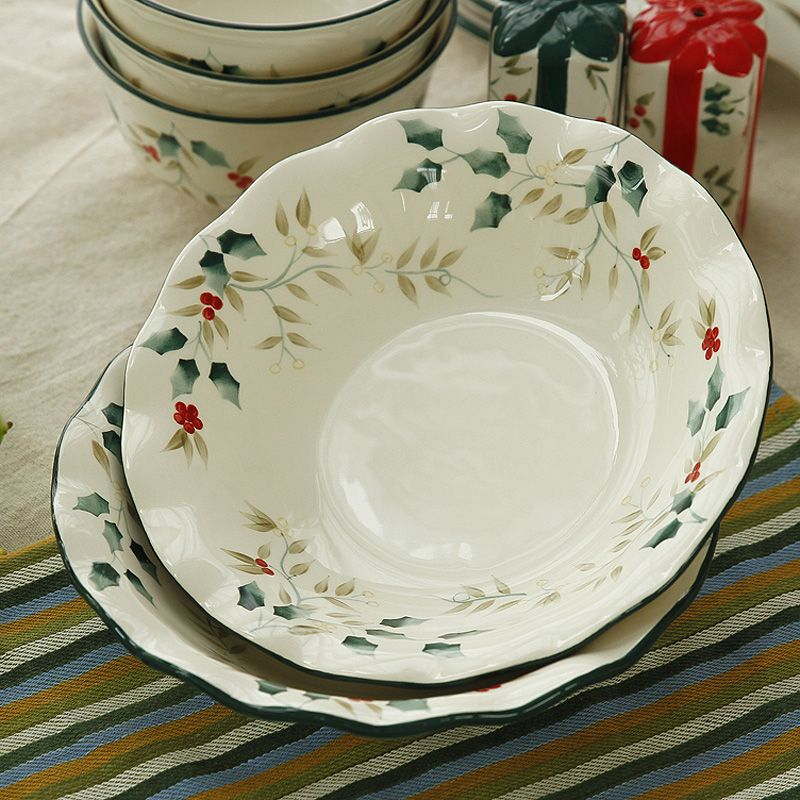 Korean Wedding Tableware Housewarming Gift Cardinals Relief Hand Painted Ceramic Plate Soup Baiyun Soil