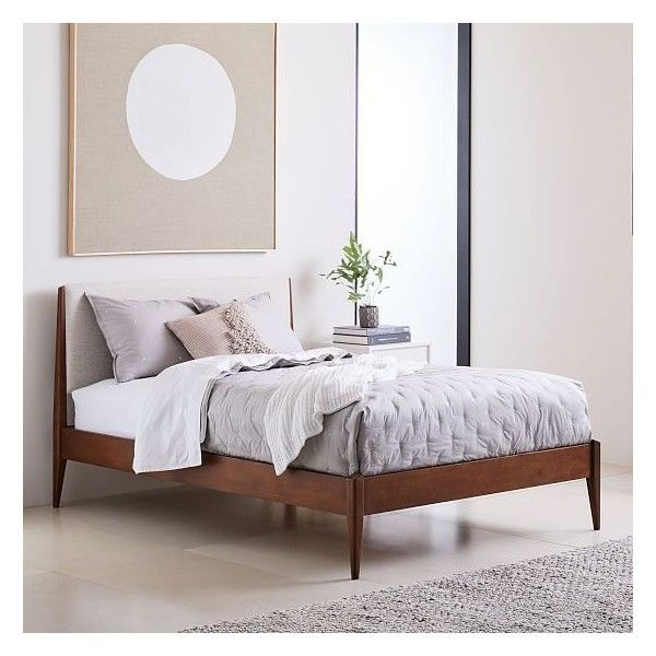 West Elm Modern Show Wood Bed Full, Twill, Wheat ($799) ❤ liked on ...