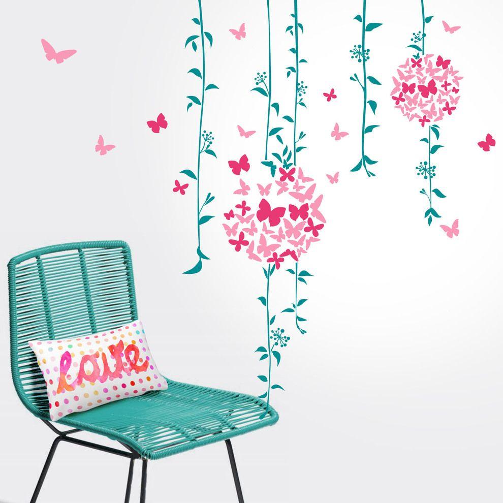 Adhesivo de pared con dise/ño de flor de acuarela para ni/ñas Flor.