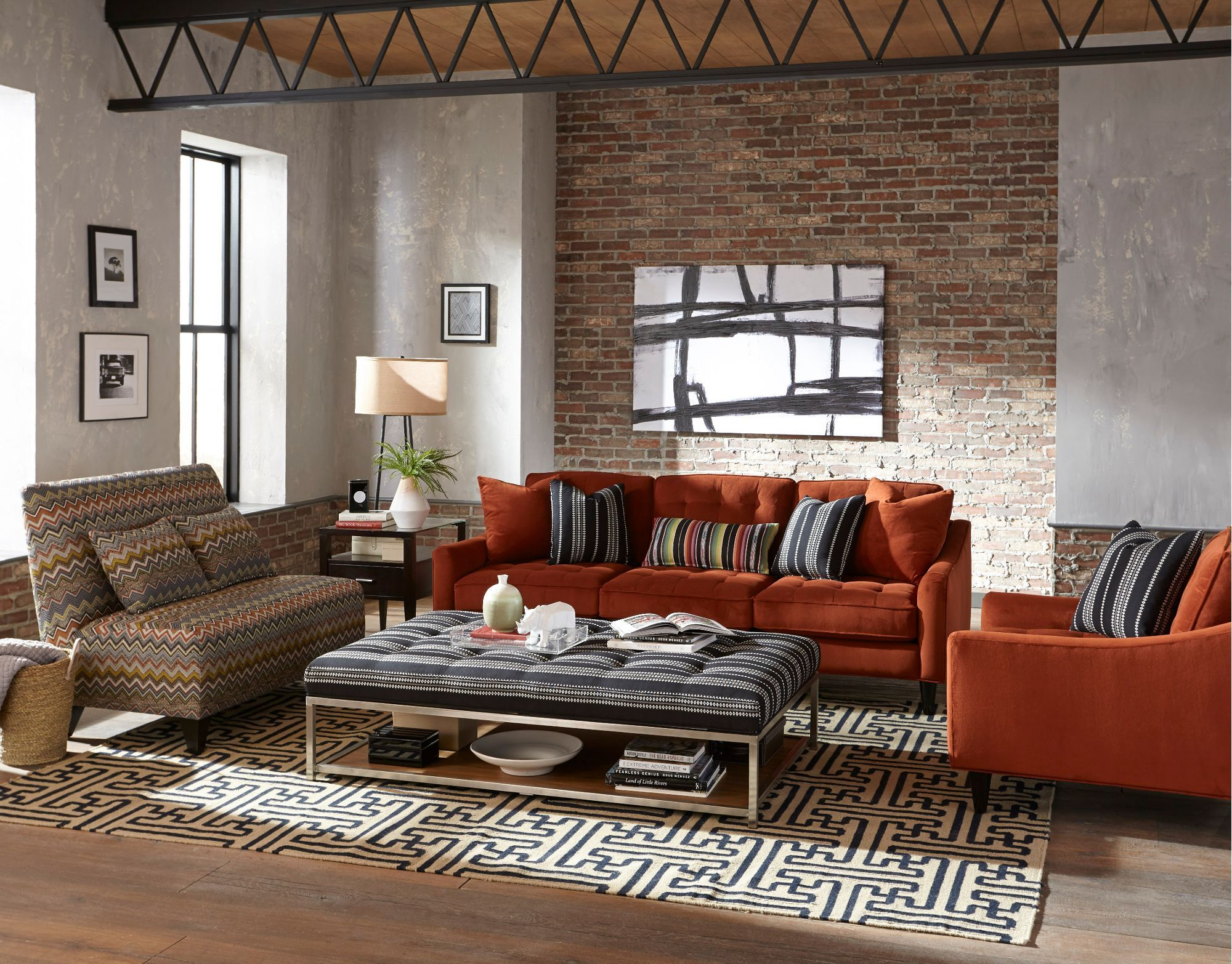 What An Amazing Living Room Love The Burnt Orange Sofa Against The Dark Panelled Wall And Galler Living Room Orange Living Room Designs Farm House Living Room
