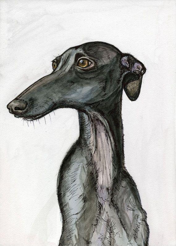 Wonderfully - GREETING CARD Italian Greyhound Art Print via Etsy