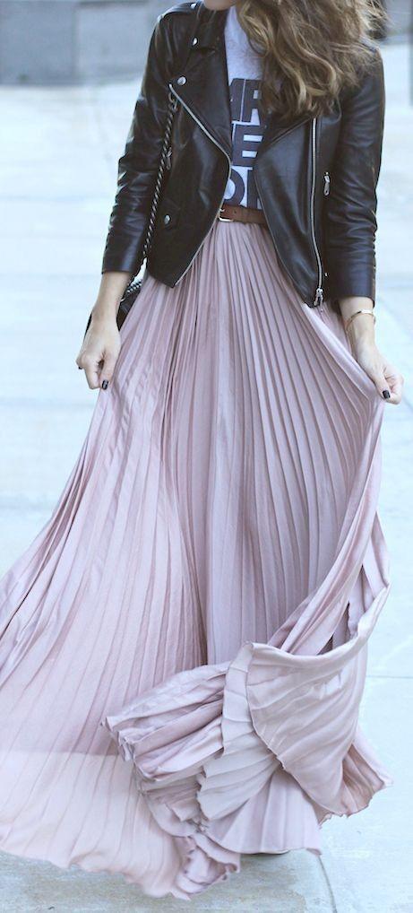 pleated maxi skirt. biker jacket.