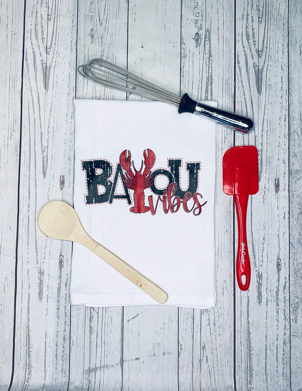 Bayou Vibes Crawfish Kitchen Towel, Crawfish Tea Towel, Cajun Home Decor, Louisiana Kitchen Decor, Crawfish Kitchen Towel, Cotton Dish Towel