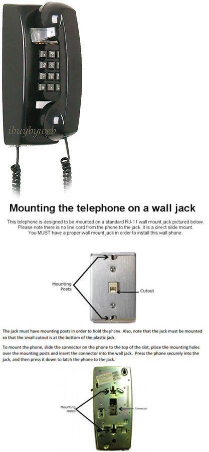 Corded Telephones: Retro Black Push on Wall Telephone Vintage ... on