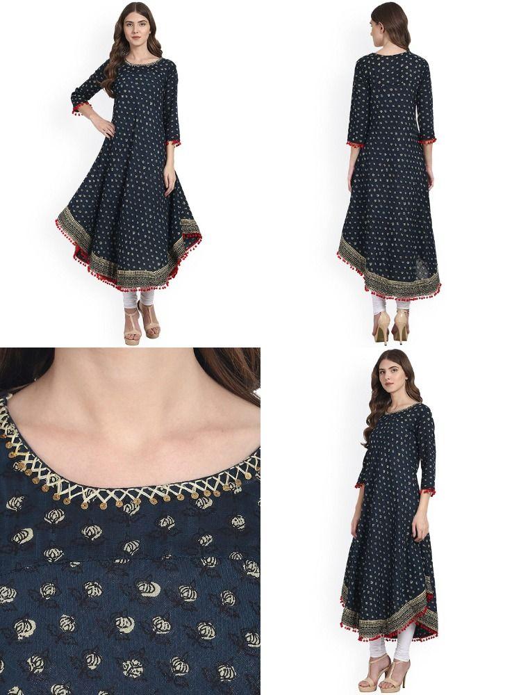 Photo of Amayra Women's Cotton Anarkali Kurti (Blue) | Stylish Kurti For Girls