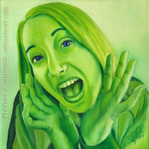 Custom Monochromatic Green Oil Painting People Portrait Original Traditional Realistic Fine Art
