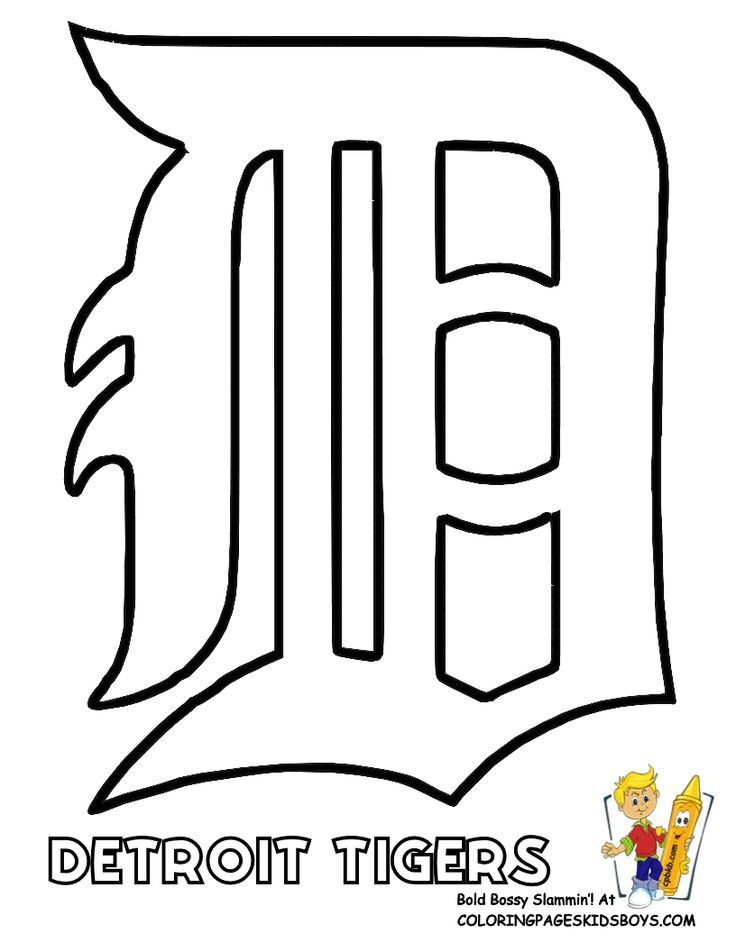 Detroit Tigers Logo Stencil Baseball Coloring Sheet Baseball