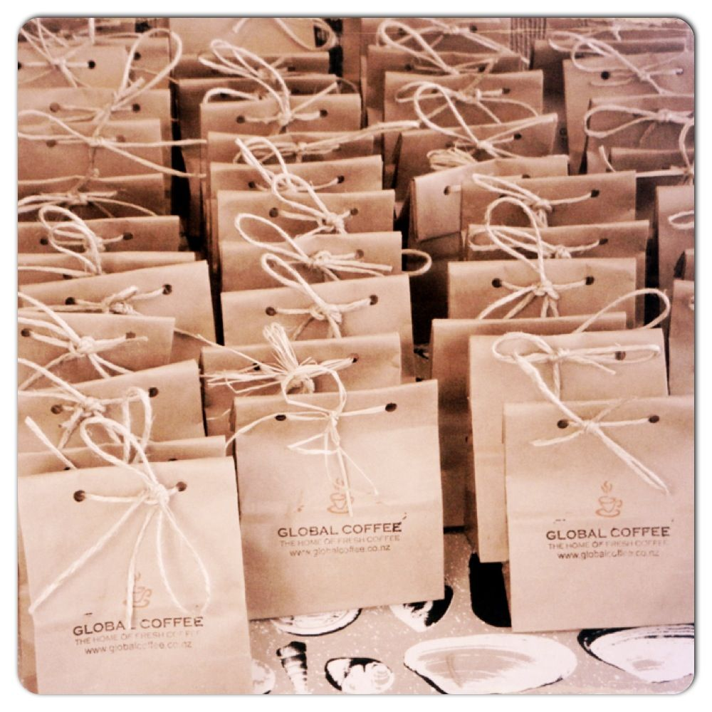 Paper Bag Wedding Favours Fill With Either Chocolate Coated Coffee Beans Or Freshly Roasted Personalised Stamp And Tied Raffia