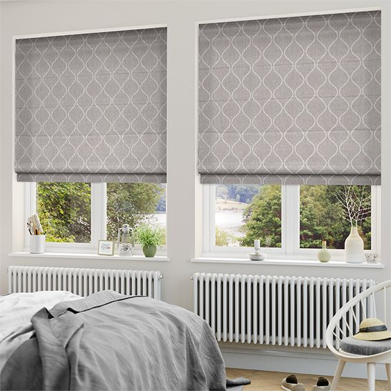 Thebes ash roman blind roman blinds ash and roman for Window blinds with designs