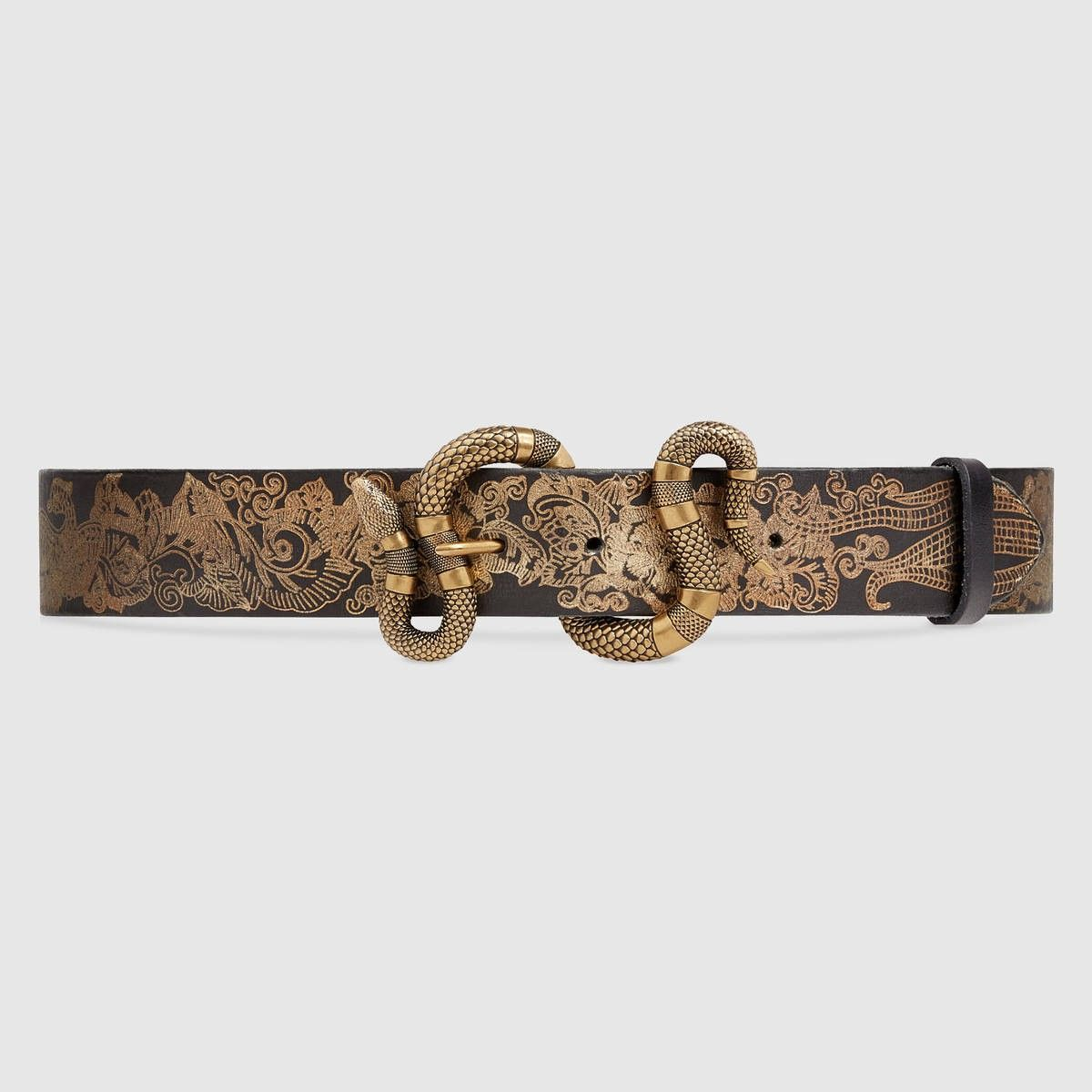 c01a01c820 GUCCI Printed leather belt with snake buckle - black leather. #gucci ...