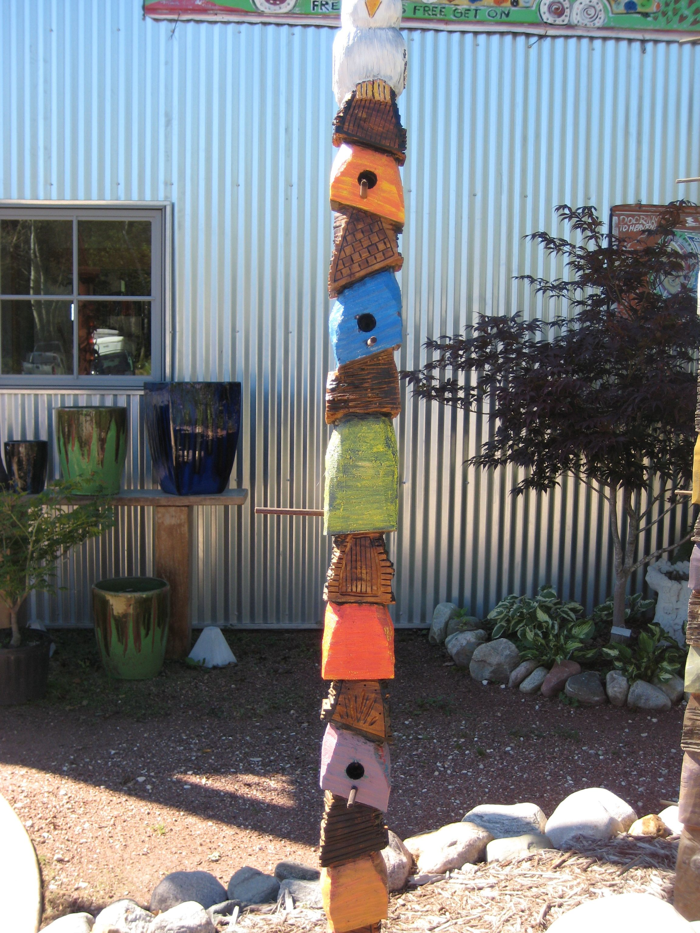 Birdhouse totem for the garden by scott nabblefeldt found