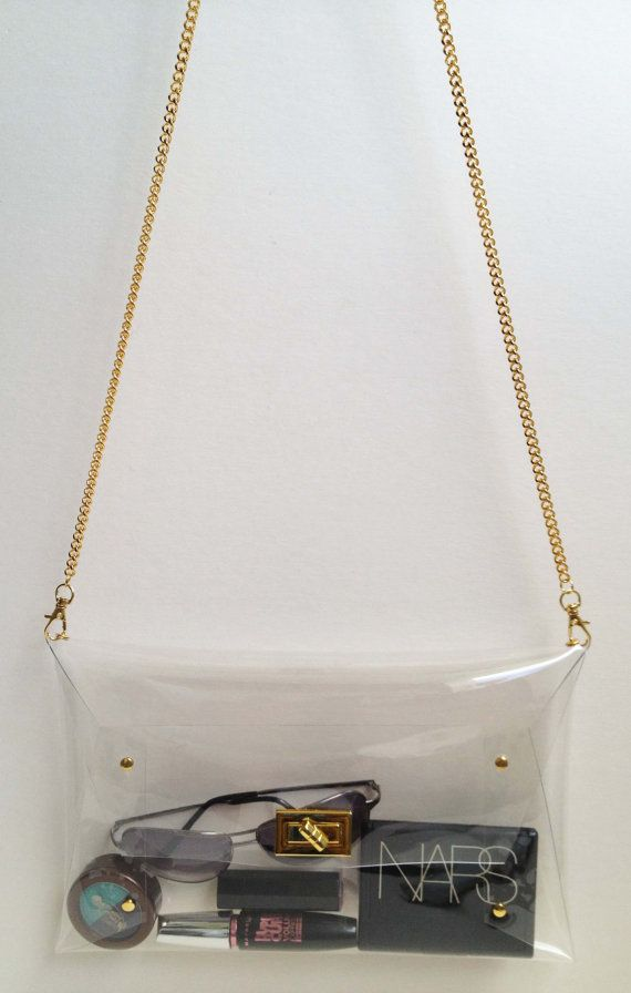 Big Classic Clutch , Classic Purse Clear Clutch with string chain shoulder, Transparent Purse, Clear Clutch, Big Size, Gold