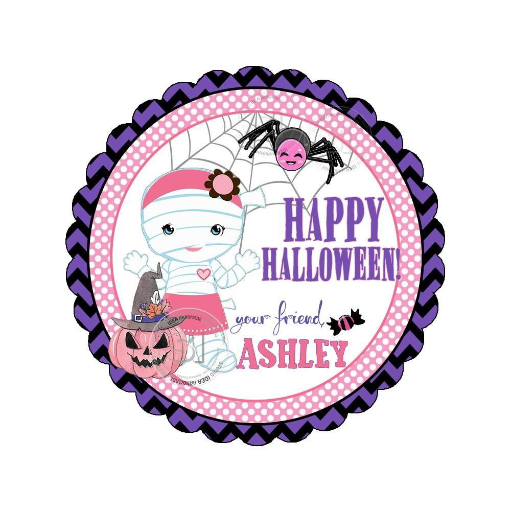 Happy halloween custom printable 2 5 tags personalized cute mummy girl 2 5 inches tags party favor diy stickers tags digital file