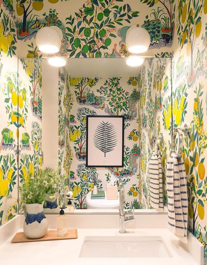 Photo of Wallpapered Powder Room