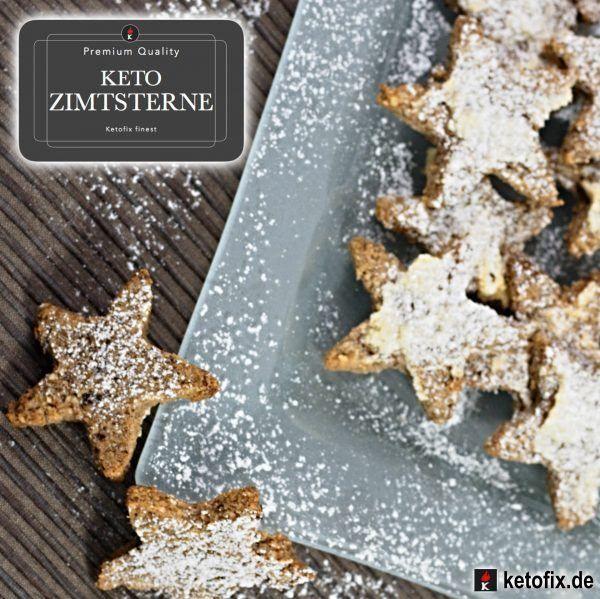 Keto Zimtsterne. Low Carb High Fat Rezept (LCHF). Diese leckeren Weihnachtsplätzchen sind das ideale  Gebäck (ohne Zucker) für die ketogene Diät. Zuckerfrei.