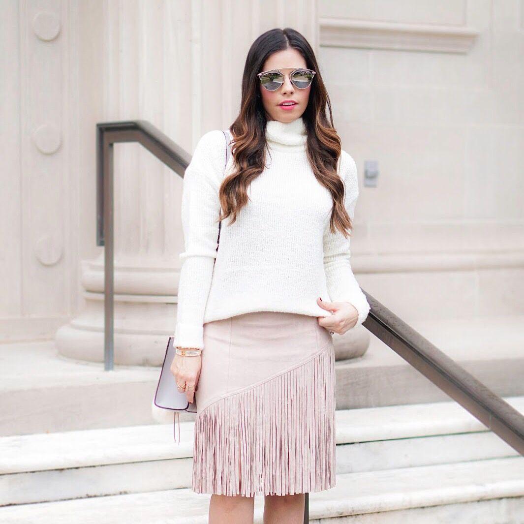 white sweater, fall outfit, blush fringe skirt, cute midi skirt, street style, feminine, fashion blogger