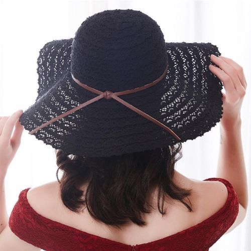 Women Summer Hat Straw Beach Hats Foldable Cotton Wide Sun Fedora Solid  Fitted 069b422f0f7e