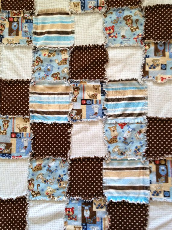 Blue brown mini infant baby toddler flannel minky rag quilt batting dog patchwork brown polka dots stripes gingham OOP rare  puppy etsy 50