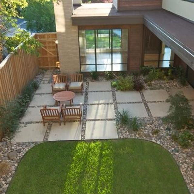 Walled Courtyard Garden With Large Pavers