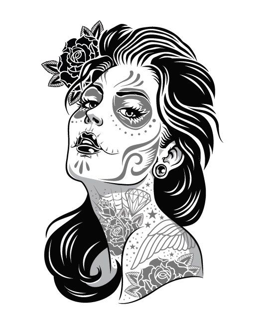 santa muerte tattooed girl day of the dead sticker free shipping by bloodonherfangs