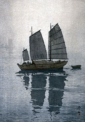 Sailing Boats Mist by Hiroshi Yoshida