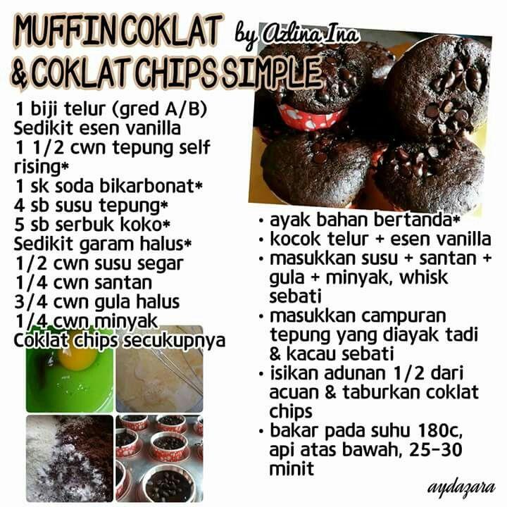 Mufin Coklat Coklat Chips Cupcake Recipes Cake Recipes
